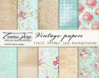 Scrapbook Papers and Digital Paper Pack 7-Shabby Chic