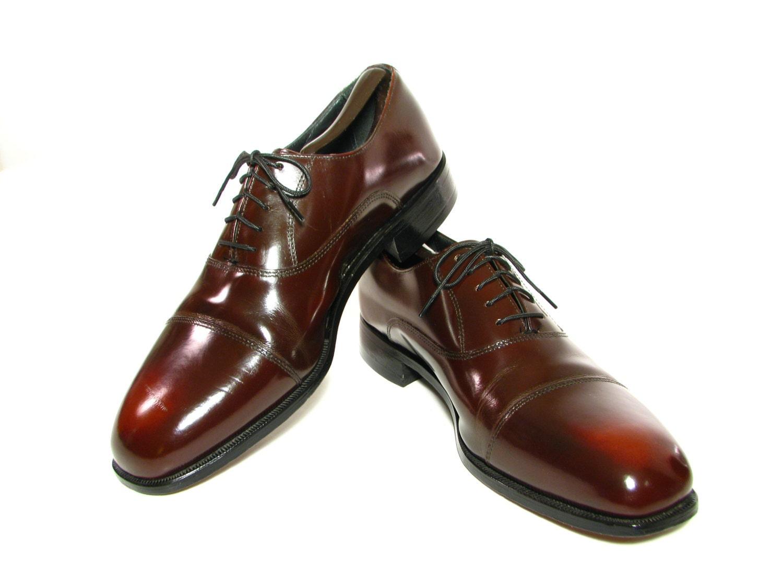 Vintage Florsheim Cap Toe Shoes Wing Tips Brown Leather