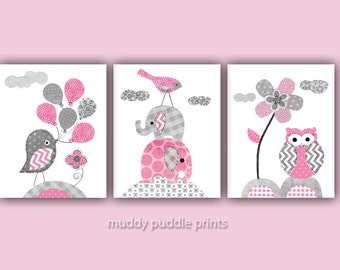 Pink and Grey Nursery decor, Nursery art, Nursery prints, Pink, Grey, Elephant, birds, owls - Pretty in Pink