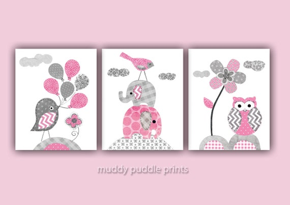 Pink And Grey Nursery Decor Nursery Art Nursery Prints - Pink and grey nursery decor