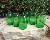 Green Shot Glass Hand Grenades made from Upcycled Perrier Bottles Set of 6