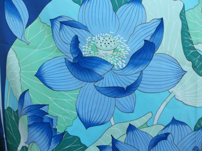 Vintage Hermes Blue Lotus Flower Scarf