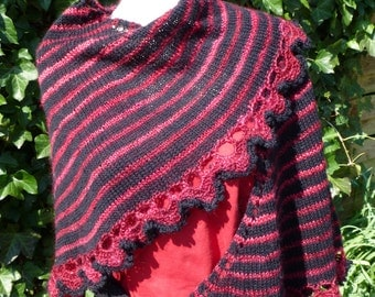 Handknitted shawl merino handspun black red
