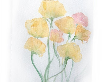 Watercolor painting of flowers. Art original. Small watercolors in light yellow 7,5 by 11 inches
