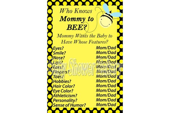 Baby Shower Game Bumble Bee Printable Mommy To Instant Download