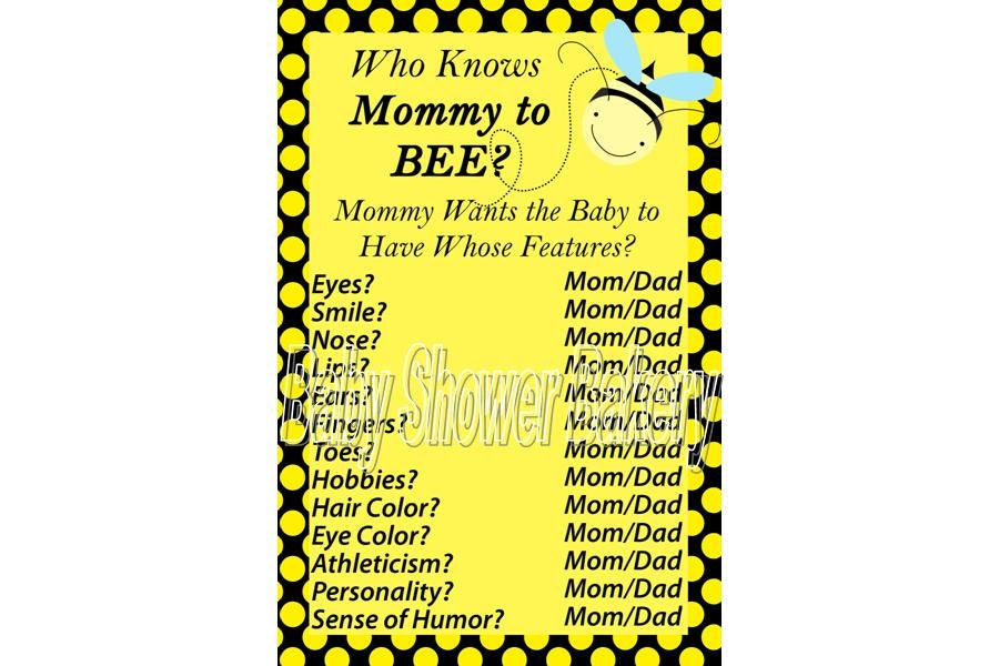 Baby shower game bumble bee baby shower game by babyshowerbakery