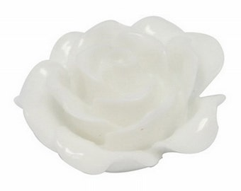 White Resin Rose Cabochons 20mm