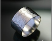 Silver Hammered Ring , Textured ring , Sterling Silver Wide Ring , Hammered Silver Wide Band , 10mm Ring