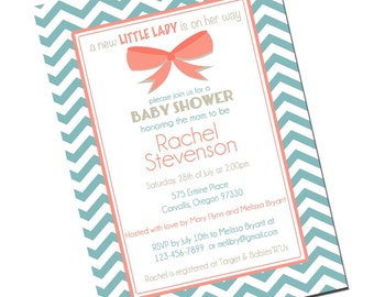 Baby Girl Shower Invitation, Chevron Invitation Aqua and Coral, Digital File,  PRINTABLE _1247