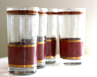Vintage Set of 4 Highball Glasses, Gold and Snakeskin Pattern, Hollywood Regency, Mid-Century