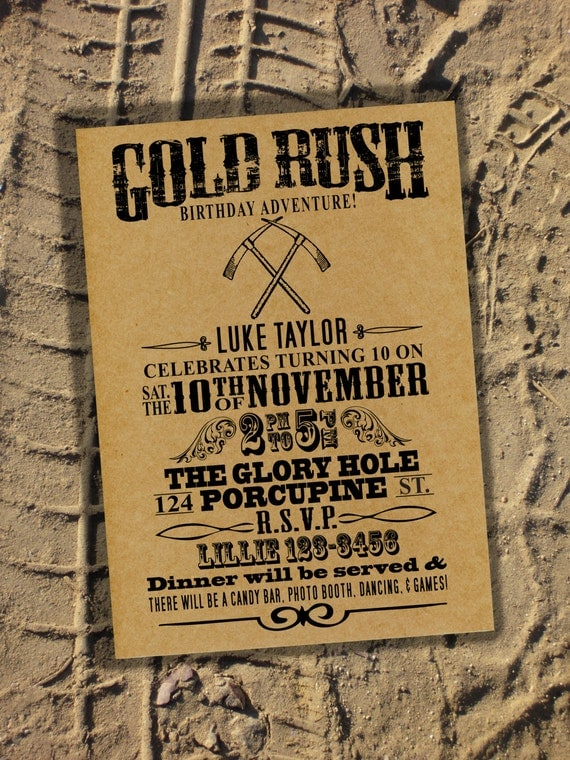 Items similar to birthday party invitation rugged gold for West to best items ideas