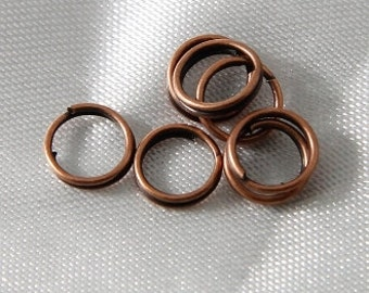100 pcs - 6mm Antique Copper Split Rings