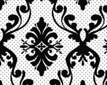 SALE! 1/4m White & Black Damask