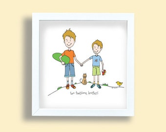 Boys room art print, Brothers art print, two handsome brothers, orange, green, blue, red, nursery room print, boys poster, kids room art