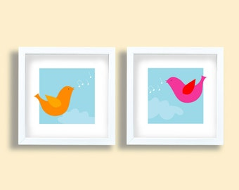 Wall art deco art prints, Colorful birds set, art print set, birds singing, children room art set, pink, yellow, girls, kids wall art, baby