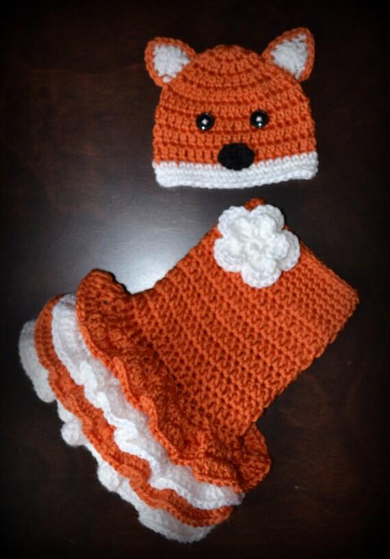 Items Similar To Crochet Fox Baby Beanie Hat Amp Matching