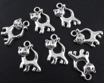 50pcs Silver Cat Charms Lead FREE Nickel FREE Tibetan Antique Silver Cat Pendants