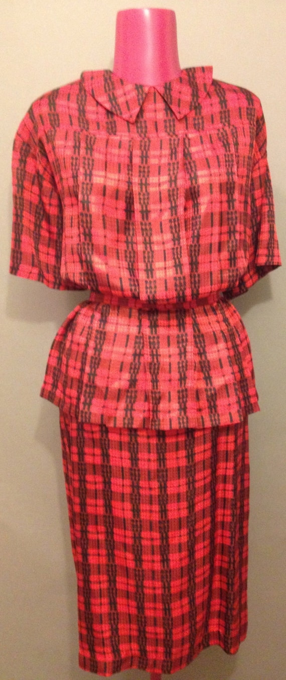 Vintage Designer Peplum Red and Black Plaid Skirt and Blouse Suit