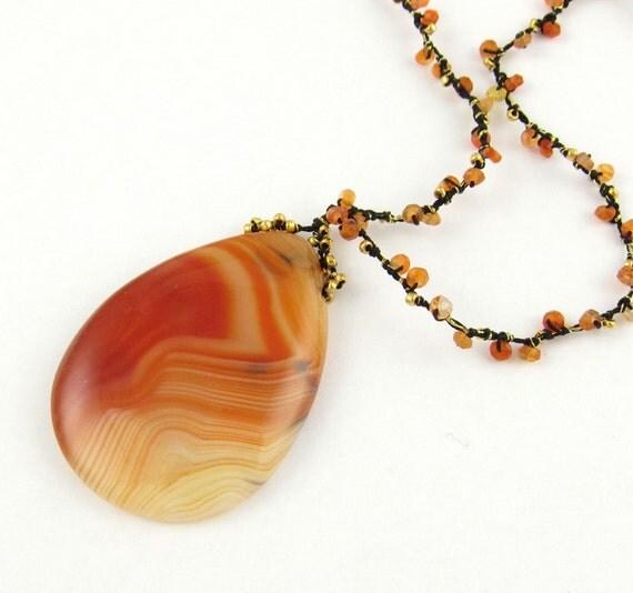 Orange Beaded Necklace, Orange Agate Pendant, Carnelian Beads, Artisan Necklace, Orange Agate Necklace,  Orange Necklace, gemstone necklace