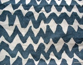 Extra Wide Linen Fabric Remnant in Large Abstract Zigzag Print