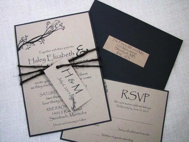 Rustic Tree Wedding Invitation Tied with Black Burlap Twine Suite