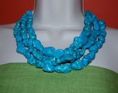 Turquoise Statement Necklace Chunky Multi Strand Turquoise Nugget Beaded Necklace Bold Wedding Jewelry Bridesmaids Necklaces