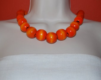 Statement Necklace Chunky Bright Tangerine Orange Beaded Necklace Wood Bold Necklace and Earrings Set
