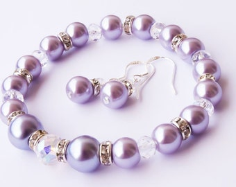 SET Lavender Pearl Jewelry Set  Bridesmaids gift