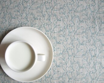 Linen tablecloth natural grey linen teal blue maple noses Eco Friendly , also table runner , napkins , pillow , curtains , great GIFT