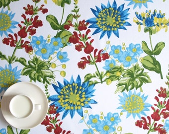 """Tablecloth white blue red flower garden 37""""x56"""" or made to order your size, also curtains available, great GIFT"""