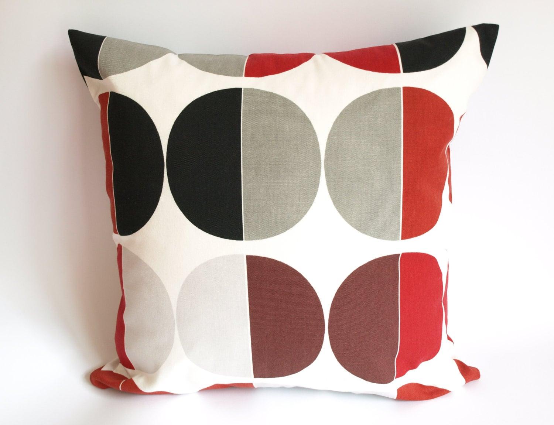 Pillow Cover White Burgundy Red Black Grey Circles