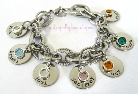 Charm Bracelet Mother's Bracelet Birth Stone Hand Stamped Personalized Chunky Link Stainless Steel