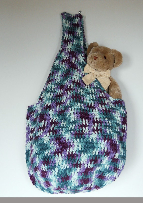 Crocheted Tote Bag - for beach or market, reusable, 100% cotton