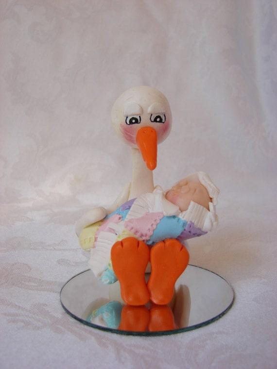 Stork Baby Shower Cake Topper