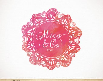 Custom Premade Logo Watercolor Lace Doilies Design for Photography & Boutique