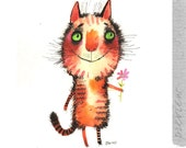 The cat and the Flower, Fine Art print
