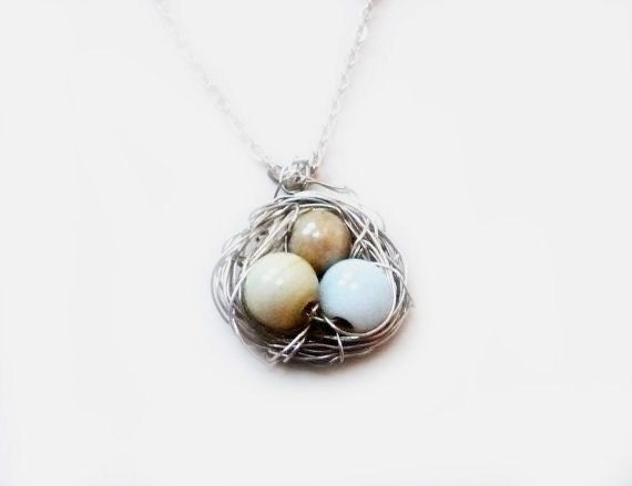 Neutral Cream Statement Pastel Wire Wrapped Bird Nest Pendant Eggs