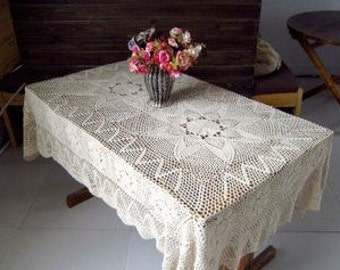51X71 Inches Crocheted Tablecloth  Rectangular  Beige