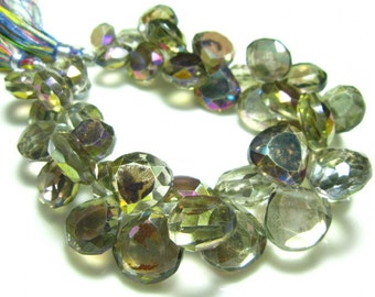 "Rainbow Mystic Natural Quartz Faceted Heart Briolette- 7"" Strand -Stones measure- 9-13mm"