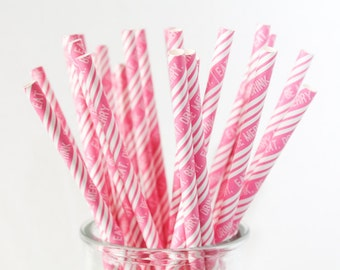 CLEARANCE - Striped Paper Drinking Straws (25) - PINK - Eat. Drink. Be Merry. - Includes Free Printable Straw Flags