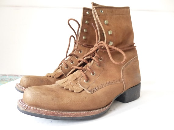 90s Men's Leather HIking Boot - Mens Brown Leather Work Boot- Size 10 Mens