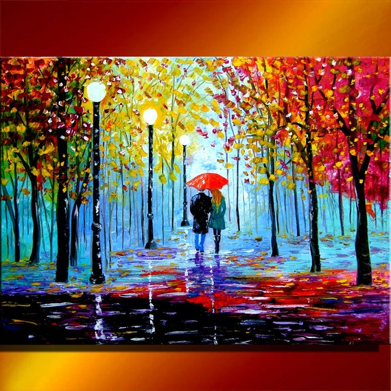 Items Similar To Couple Walking In The Rain Park Red