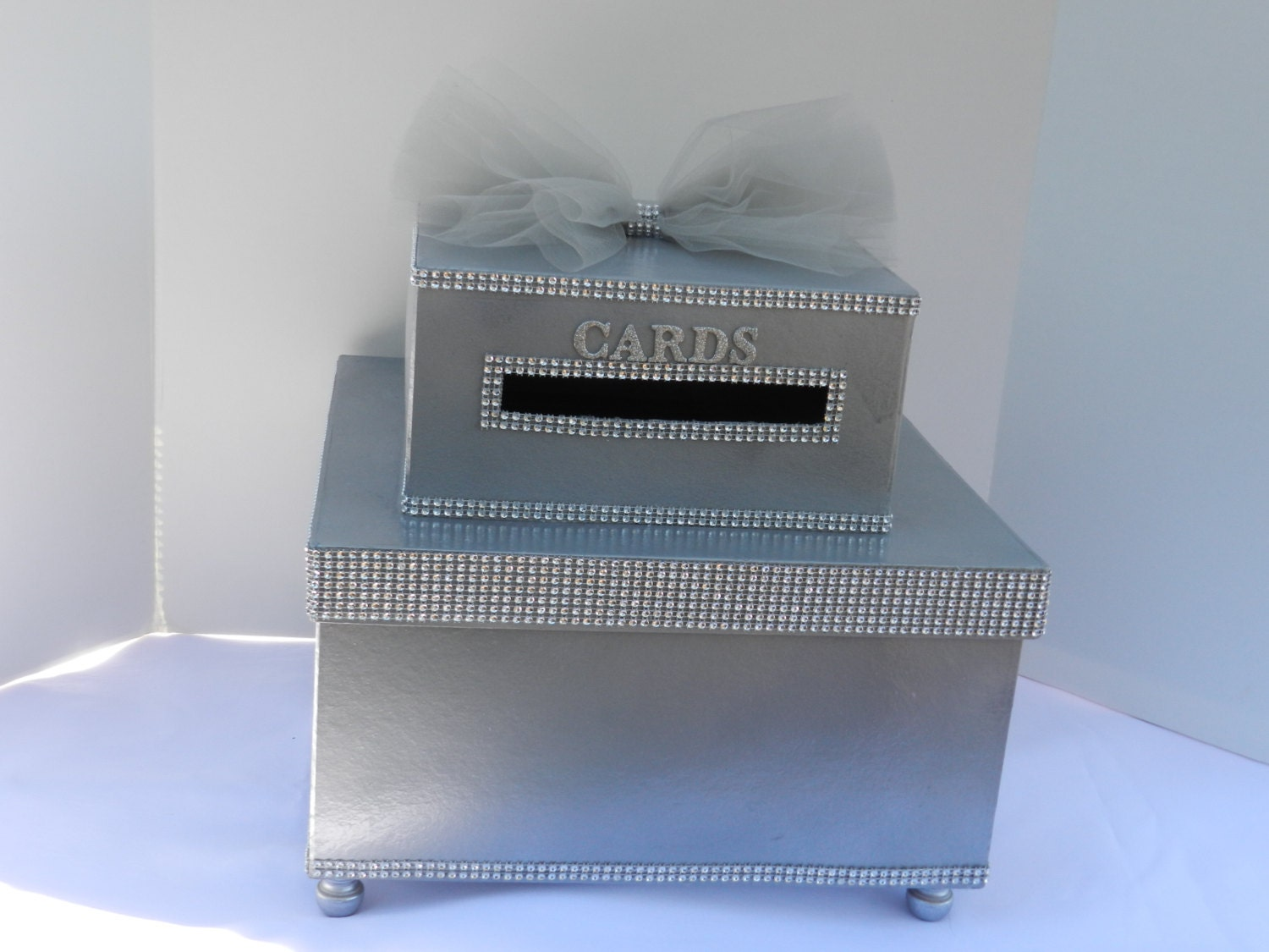 Silver Bling Wedding Card Box Diamond Mesh Ribbon by SweetJonesin