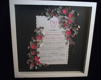 Custom Framed Paper Quilled Wedding Invitation