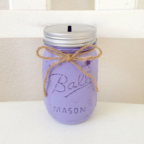 Items similar to pint ball mason jar piggy bank any color for Mason jar piggy bank