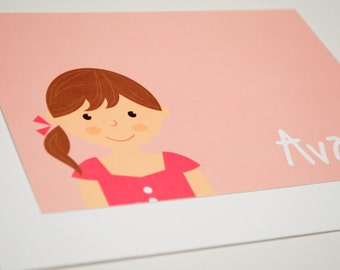 Personalized Children's Notecards - Girl or Boy Face