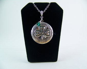 Claddagh Locket, Silver Shamrock Locket, Emerald Crystal, Shamrock Necklace, Irish Necklace, St. Patrick's Day Locket, Good Luck