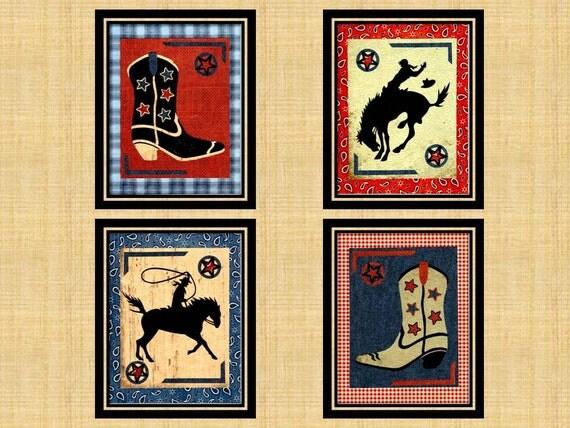 Cowboy Wall Decor Nursery : Items similar to cowboy nursery art prints horse wall