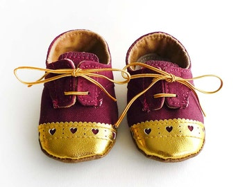 Baby Girl Toddler Shoes Burgundy Canvas with Gold Brogued Leather Soft Sole Shoes Oxford Wingtips Wing tips