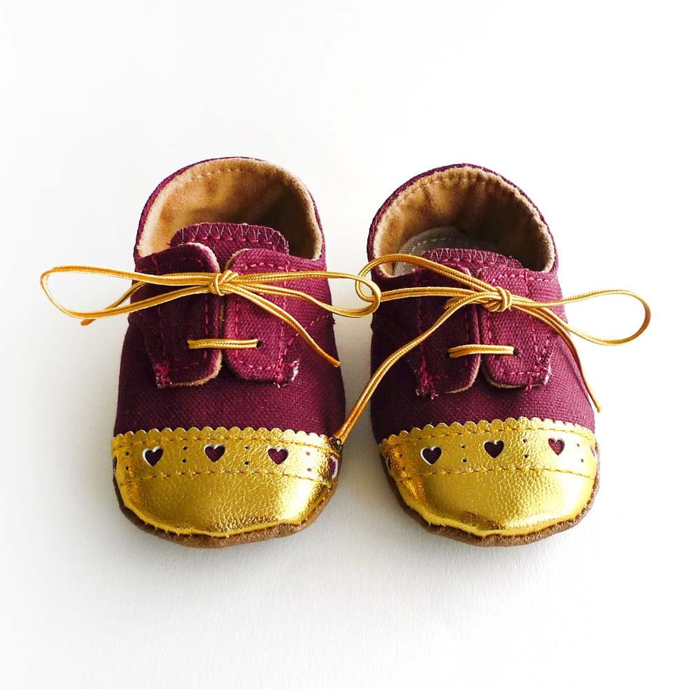 Baby Girl Toddler Shoes Burgundy Canvas with Gold by ajalor